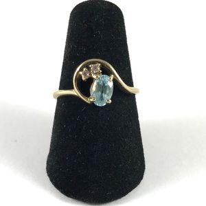RSCO Sterling Silver Aquamarine Ring Size 6